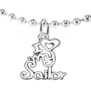 Navy, I Love My Sailor, Necklace Hypoallergenic, Safe - Nickel & Lead Free