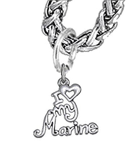 Marine, I Love My Marine, Wheat Chain Necklace Hypoallergenic, Safe - Nickel & Lead Free