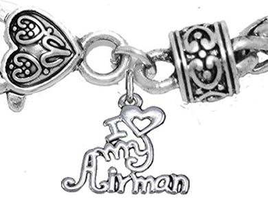 Air Force, I Love My Airman, Wheat Chain Bracelet Hypoallergenic, Safe - Nickel & Lead Free