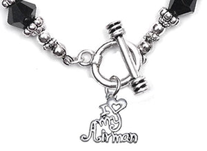 Air Force, I Love My Airman, Black Crystal Bracelet Hypoallergenic, Safe - Nickel & Lead Free