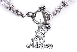 Air Force, I Love My Airman, Clear Crystal Bracelet Hypoallergenic, Safe - Nickel & Lead Free