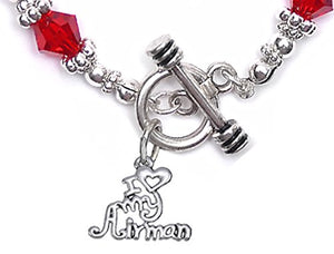 Air Force, I Love My Airman, Red Crystal Bracelet Hypoallergenic, Safe - Nickel & Lead Free