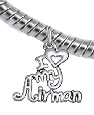 Air Force, I Love My Airman, Snake Chain Bracelet Hypoallergenic, Safe - Nickel & Lead Free