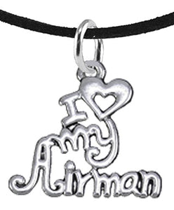 Air Force, I Love My Airman, Adjustable Necklace Hypoallergenic, Safe - Nickel & Lead Free