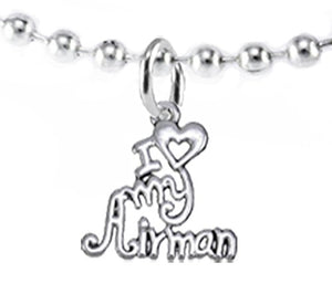 Air Force, I Love My Airman, Necklace Hypoallergenic, Safe - Nickel & Lead Free