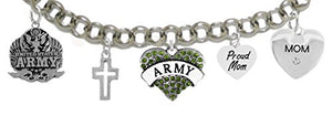 Proud ArMy Mom Heart Bracelet, Will NOT Irritate Anyone's Sensitive Skin. Safe - Nickel & Lead Free