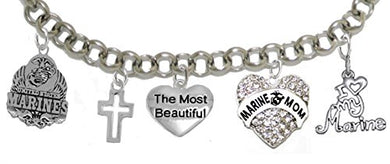 Most Beautiful Marine Mom Bracelet, Will NOT Irritate Sensitive Skin. Safe - Nickel & Lead Free