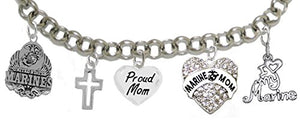 "Proud Marine ""Mom"" Heart Bracelet, Will NOT Irritate Sensitive Skin. Safe - Nickel & Lead Free"
