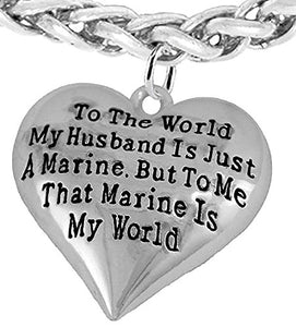 Marine Wife, My Husband is My World, Necklace, Hypoallergenic, Safe - Nickel, Lead & Cadmium Free