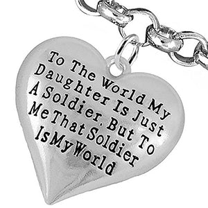 "Army Enlisted ""Daughter"", My ""Daughter"", She Is My World Bracelet, Adjustable - Nickel & Lead Free"