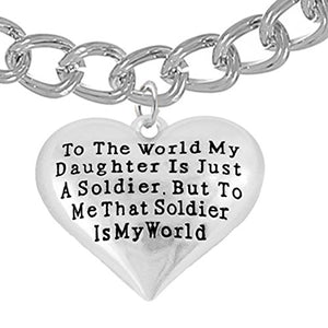 "Army Enlisted ""Daughter"", My Daughter Is My World, Hypoallergenic, Safe - Nickel & Lead Free"