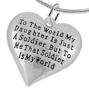 "Army Enlisted ""Daughter"", My ""Daughter"", She Is My World Necklace, Adjustable - Nickel & Lead Free"