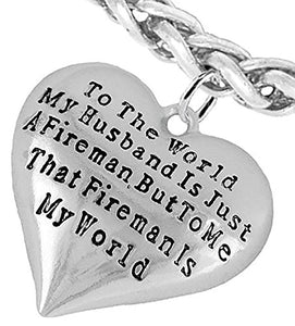 My Firefighter Is My World, Wife Adjustable Bracelet, Safe - Nickel & Lead Free.