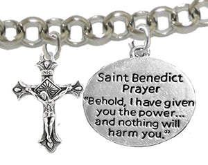 Saint Benedict Bracelet Prayer, Protect Me from Harm, From Evil, From the Devil. Nickel & Lead Free
