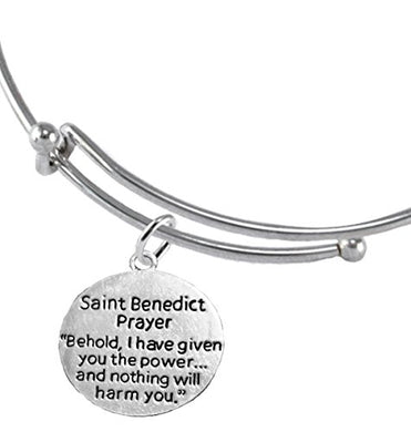 Saint Benedict Protective Charm & Prayer, Protect Me from Harm, From Evil, Adjustable Bracelet