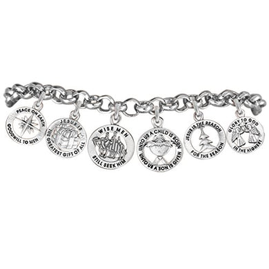 Christmas Exclusive, 6 Charm, Adjustable Chain Bracelet Safe - Nickel & Lead Free.