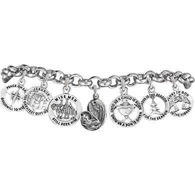Christmas, Exclusive, 7 Charm, Adjustable Chain Bracelet Safe - Nickel & Lead Free.