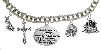Saint Benedict Crucifix-Mary With Christ Child, Prayer, Calvary, Protect Me from Harm, From Evil.