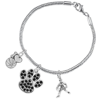 Black Paw Crystal Basketball Jewelry,  ©2016 Adjustable, Safe - Hypoallergenic, Nickel & Lead Free