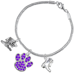 "The Perfect Gift ""Drill Team Jewelry"" Purple Crystal Paw  ©2015 Hypoallergenic Safe - Nickel Free"
