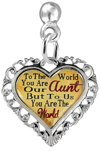 "Aunt Heart Charm Post Earring""  ©2016 Hypoallergenic, Safe - Nickel, Lead & Cadmium Free!"