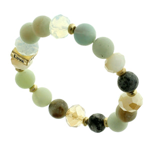 "Jade, Glass And Earth-tone Beaded Stretch Bracelet ""Faith"" ""Hope"" ""Love"" ""Blessed"" On Gold-toned Accent"