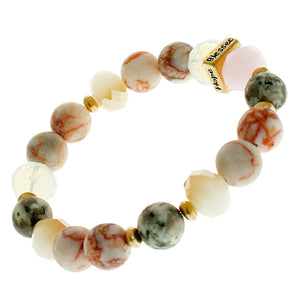 "Red Marble, Glass And Earth-tone Beaded Stretch Bracelet ""Faith"" ""Hope"" ""Love"" ""Blessed"" On Gold-toned Accent"