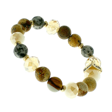 Brown, Glass And Earth-tone Beaded Stretch Bracelet