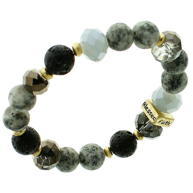Black, Glass And White Marble Beaded Stretch Bracelet