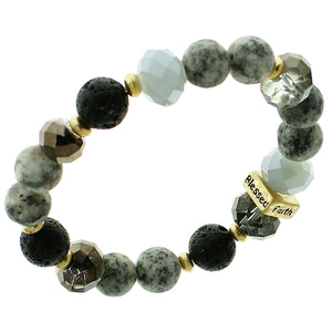 "Black, Glass And White Marble Beaded Stretch Bracelet ""Faith"" ""Hope"" ""Love"" ""Blessed"" On Gold-toned Accent"