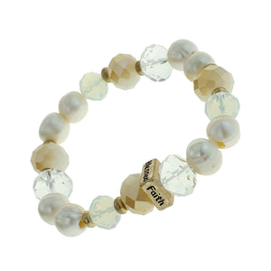 "Pearl, Glass And Earth-tone Beaded Stretch Bracelet ""Faith"" ""Hope"" ""Love"" ""Blessed"" On Gold-toned Accent"