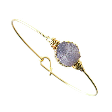 Purple Faux Geode Crystal Miracle Wire Bracelet Adjustable Gold Tone Wire With Ball And Hook Clasp