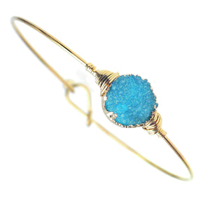 Turquoise Faux Geode Crystal Miracle Wire Bracelet Adjustable Gold Tone Wire With Ball And Hook Clasp