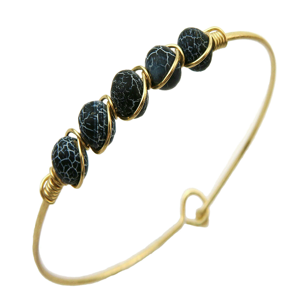 Black Marble Oval Stone Set On Adjustable Gold-tone Miracle Wire Ball And Hook Clasped Bracelet
