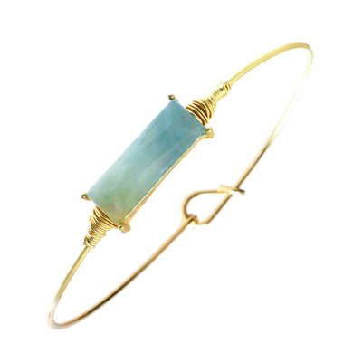 Large Emerald-cut Faux Blue Stone On Miracle Wire Bracelet Adjustable Gold Tone Wire With Ball And Hook Clasp
