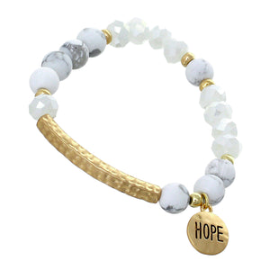 "White, Glass And White Marble Mini Beaded Stretch Bracelet ""Hope"" On Textured Gold-toned Round Accent"