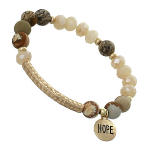 "Earth-tone, Glass And Marble Mini Beaded Stretch Bracelet ""Hope"" On Textured Gold-toned Round Accent"