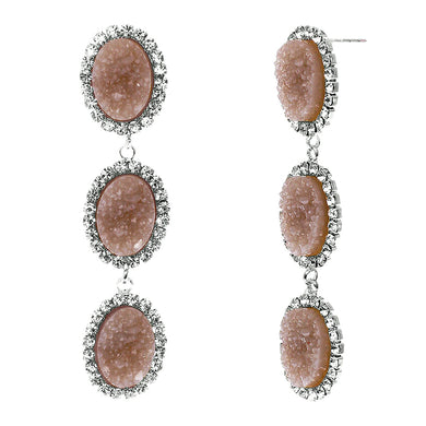 Dusty Rose Faux Geode Stone And Clear Crystal Accented Three Tiered Silver Tone Post Setting Fashion Earrings
