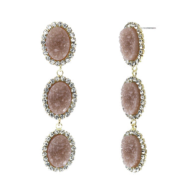 Dusty Rose Faux Geode Stone And Clear Crystal Accented Three Tiered Gold Tone Post Setting Fashion Earrings