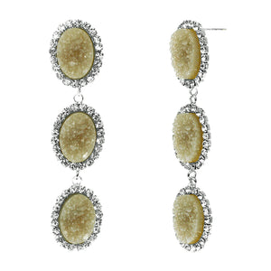 Dusky Amber Faux Geode Stone And Clear Crystal Accented Three Tiered Silver Tone Post Setting Fashion Earrings