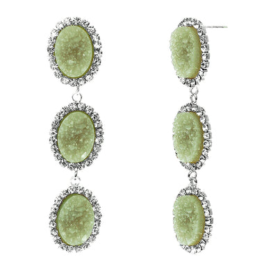Jade Green Faux Geode Stone And Clear Crystal Accented Three Tiered Silver Tone Post Setting Fashion Earrings