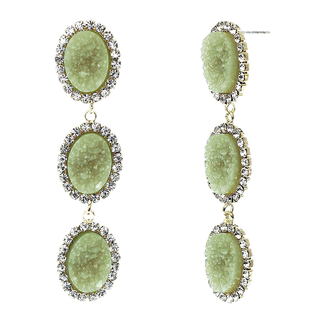 Jade Green Faux Geode Stone And Clear Crystal Accented Three Tiered Gold Tone Post Setting Fashion Earrings