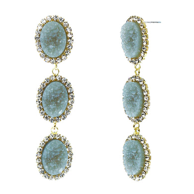 Slate Blue Faux Geode Stone And Clear Crystal Accented Three Tiered Gold Tone Post Setting Fashion Earrings
