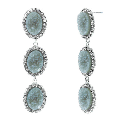 Slate Blue Faux Geode Stone And Clear Crystal Accented Three Tiered Silver Tone Post Setting Fashion Earrings