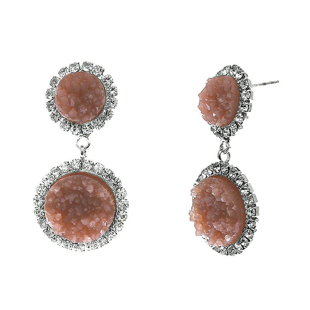 Dusty Rose Faux Geode Stone And Clear Crystal Accented Two Tiered Silver Tone Post Setting Fashion Earrings