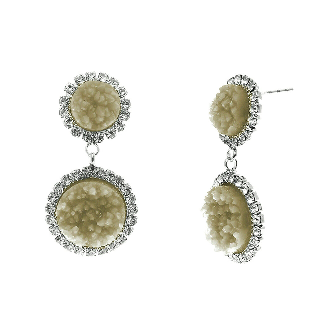 Dusky Amber Faux Geode Stone And Clear Crystal Accented Two Tiered Silver Tone Post Setting Fashion Earrings