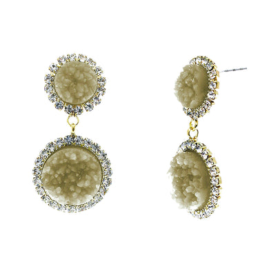 Dusky Amber Faux Geode Stone And Clear Crystal Accented Two Tiered Gold Tone Post Setting Fashion Earrings