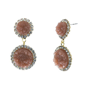 Dusty Rose Faux Geode Stone And Clear Crystal Accented Two Tiered Gold Tone Post Setting Fashion Earrings