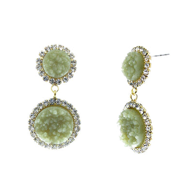 Jade Green Faux Geode Stone And Clear Crystal Accented Two Tiered Gold Tone Post Setting Fashion Earrings