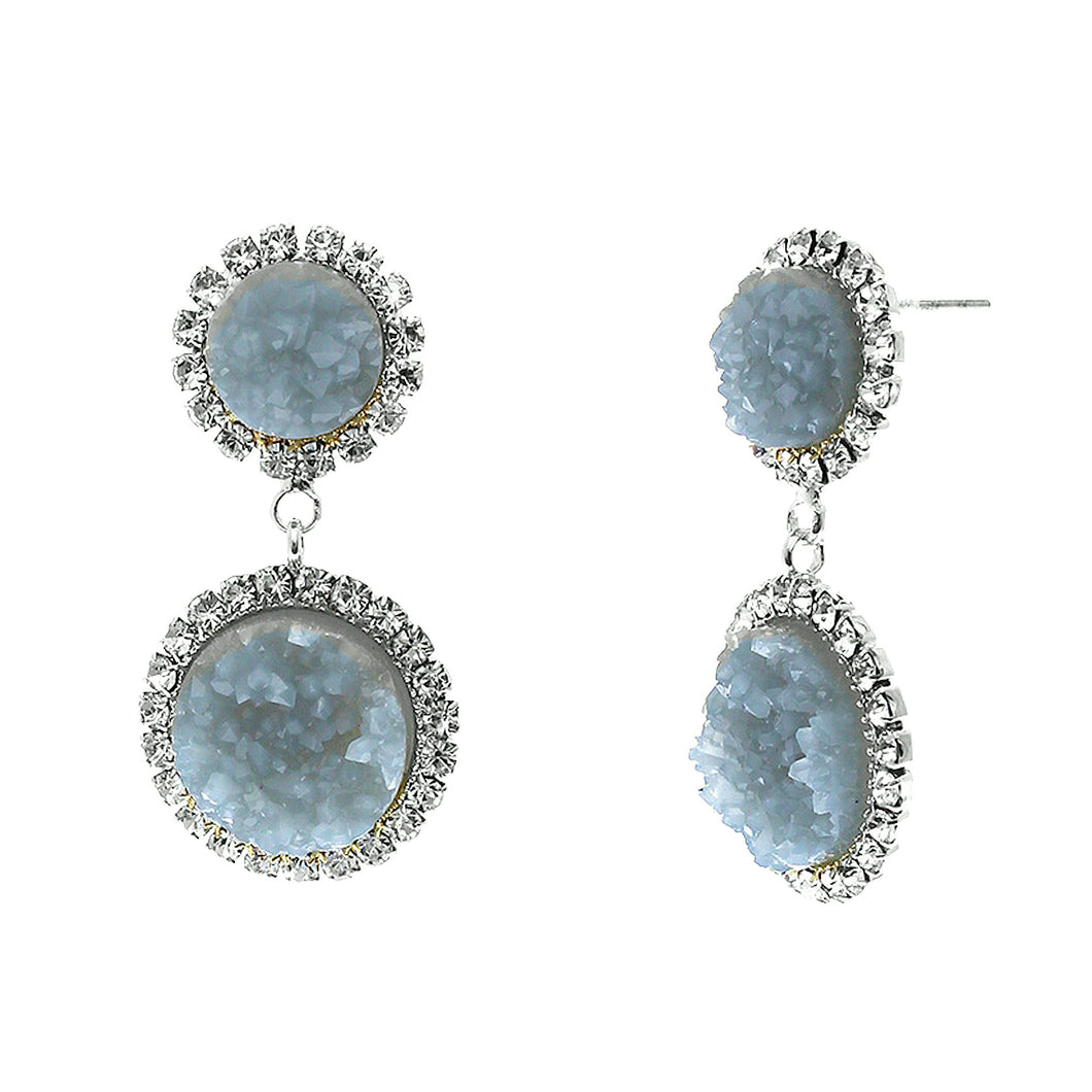 Slate Blue Faux Geode Stone And Clear Crystal Accented Two Tiered Silver Tone Post Setting Fashion Earrings